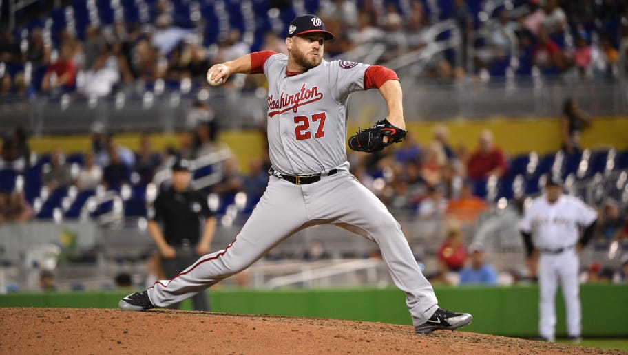 MIAMI, FL - JULY 26: Shawn Kelley #27 of the Washington Nationals pitches in the ninth inning against the Miami Marlins at Marlins Park on July 26, 2018 in Miami, Florida. (Photo by Mark Brown/Getty Images)