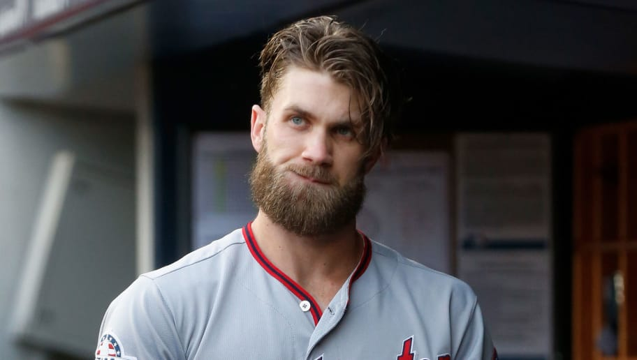 NEW YORK, NY - JUNE 13:  Bryce Harper #34 of the Washington Nationals looks on before a game against the New York Yankees at Yankee Stadium on June 13, 2018 in the Bronx borough of New York City. The Nationals defeated the Yankees 5-4.  (Photo by Jim McIsaac/Getty Images)