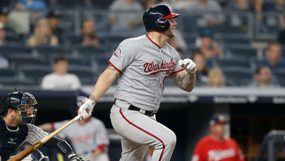 NEW YORK, NY - JUNE 13:  Matt Adams #15 of the Washington Nationals in action against the New York Yankees at Yankee Stadium on June 13, 2018 in the Bronx borough of New York City. The Nationals defeated the Yankees 5-4.  (Photo by Jim McIsaac/Getty Images)