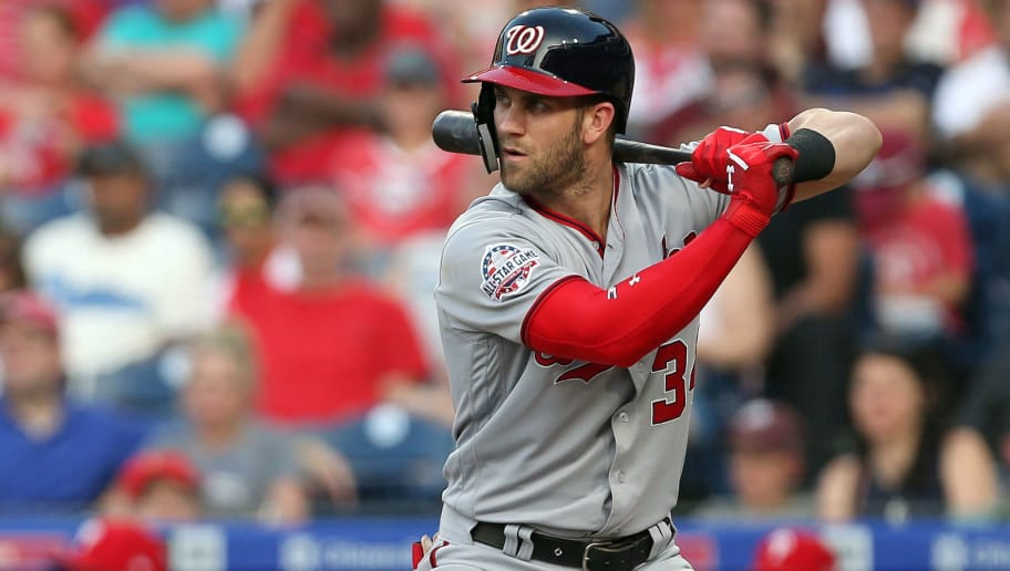 PHILADELPHIA, PA - JUNE 29: Bryce Harper #34 of the Washington Nationals in action during a game against the Philadelphia Phillies at Citizens Bank Park on June 29, 2018 in Philadelphia, Pennsylvania. (Photo by Rich Schultz/Getty Images)