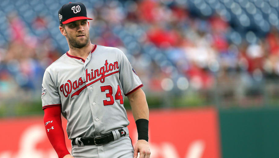 PHILADELPHIA, PA - JUNE 29: Bryce Harper #34 of the Washington Nationals before a game against the Philadelphia Phillies at Citizens Bank Park on June 29, 2018 in Philadelphia, Pennsylvania. The Nationals defeated the Phillies 17-7. (Photo by Rich Schultz/Getty Images)