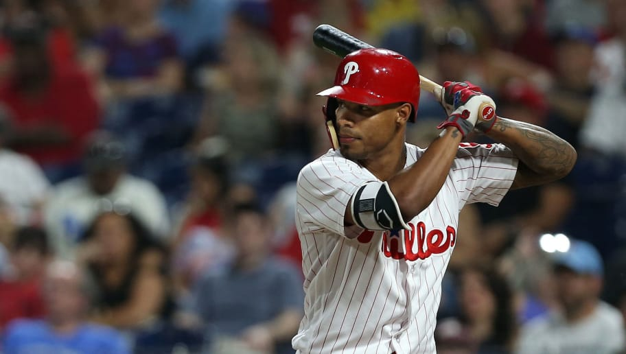 PHILADELPHIA, PA - JUNE 29: Nick Williams #5 of the Philadelphia Phillies in action against the Washington Nationals during a game at Citizens Bank Park on June 29, 2018 in Philadelphia, Pennsylvania. (Photo by Rich Schultz/Getty Images)