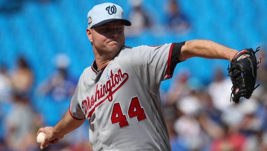 TORONTO, ON - JUNE 17: Ryan Madson #44 of the Washington Nationals delivers a pitch in the eighth inning during MLB game action against the Toronto Blue Jays at Rogers Centre on June 17, 2018 in Toronto, Canada. (Photo by Tom Szczerbowski/Getty Images)