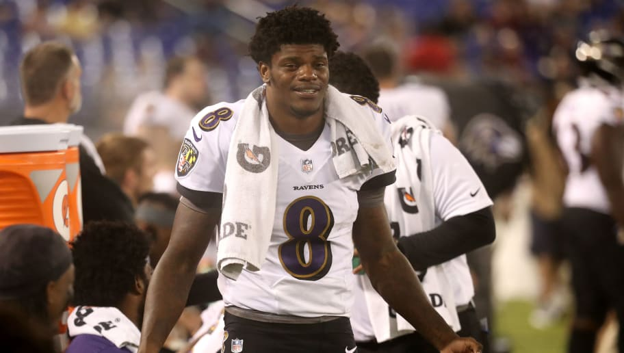 BALTIMORE, MD - AUGUST 30: Quarterback Lamar Jackson #8 of the Baltimore Ravens looks on in the second half of a preseason game against the Washington Redskins at M&T Bank Stadium on August 30, 2018 in Baltimore, Maryland. (Photo by Rob Carr/Getty Images)