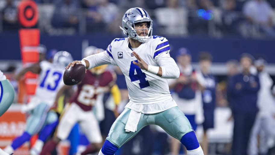 ARLINGTON, TX - NOVEMBER 22:  Dak Prescott #4 of the Dallas Cowboys throws a pass during a game against the Washington Redskins at AT&T Stadium on November 22, 2018 in Arlington, Texas.  The Cowboys defeated the Redskins 31-23.  (Photo by Wesley Hitt/Getty Images)