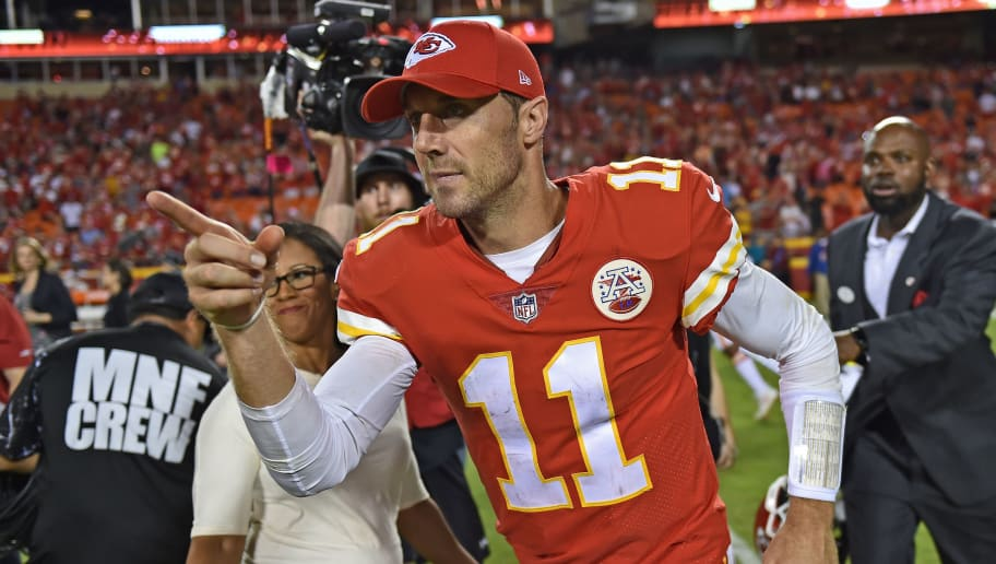 KANSAS CITY, MO - OCTOBER 02:  Quarterback Alex Smith #11 of the Kansas City Chiefs reacts after a game against the Washington Redskins on October 2, 2017 at Arrowhead Stadium in Kansas City, Missouri.  (Photo by Peter G. Aiken/Getty Images)