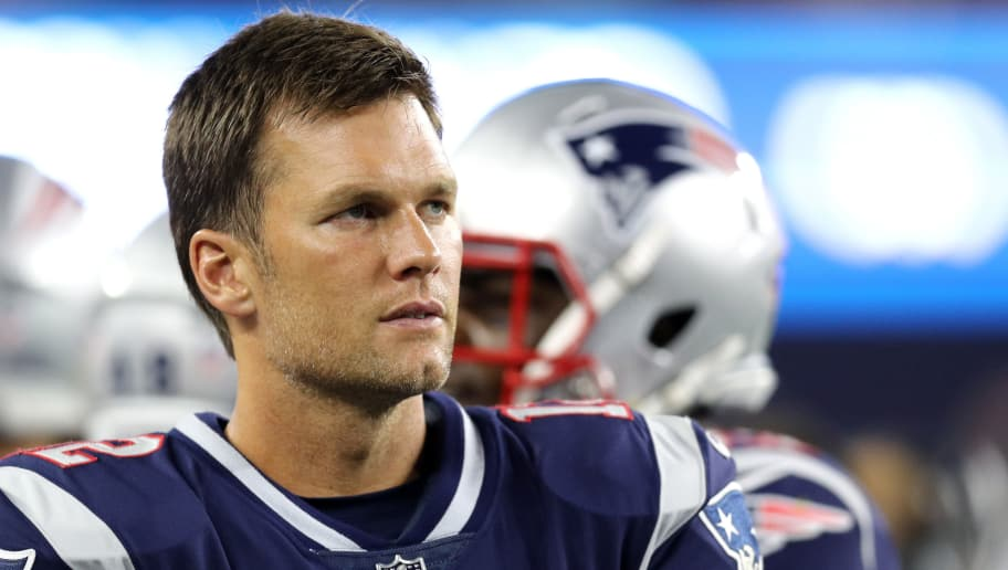 FOXBOROUGH, MA - AUGUST 9 : Tom Brady #12 of the New England Patriots looks on during the preseason game between the New England Patriots and the Washington Redskins at Gillette Stadium on August 9, 2018 in Foxborough, Massachusetts. (Photo by Maddie Meyer/Getty Images)