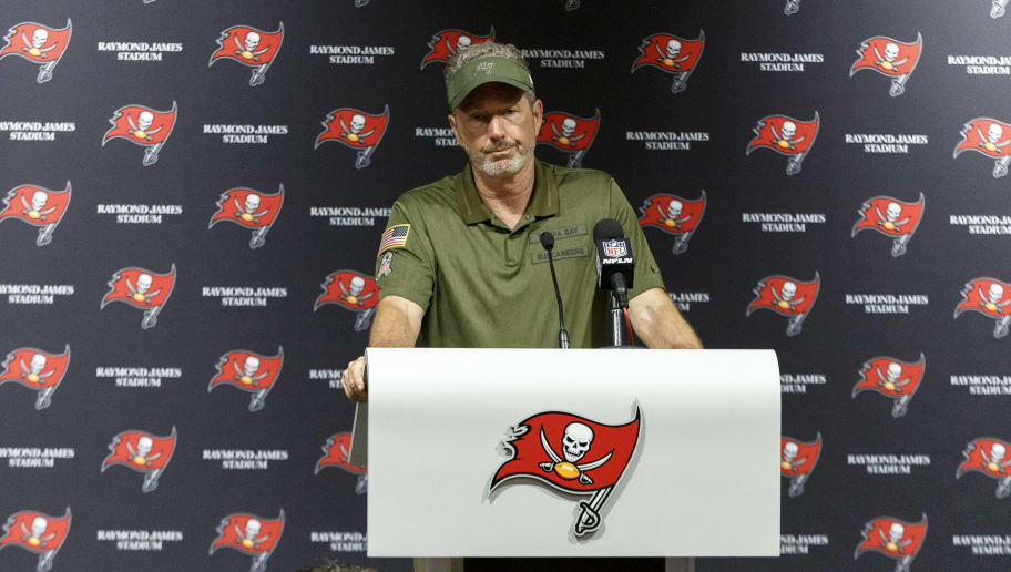 TAMPA, FL - NOVEMBER 11: Head Coach Dirk Koetter of the Tampa Bay Buccaneers addresses the media during the post game press conference after the game against the Washington Redskins at Raymond James Stadium on November 21, 2018 in Tampa, Florida. The Redskins defaeted the Buccaneers 16 to 3. (Photo by Don Juan Moore/Getty Images)