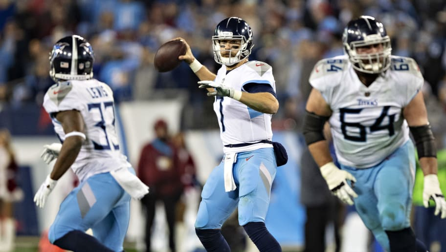 NASHVILLE, TN - DECEMBER 22:  Blaine Gabbert #7 of the Tennessee Titans throws a pass during a game against the Washington Redskins at Nissan Stadium on December 22, 2018 in Nashville, Tennessee.  The Titans defeated the Redskins 25-16.   (Photo by Wesley Hitt/Getty Images)
