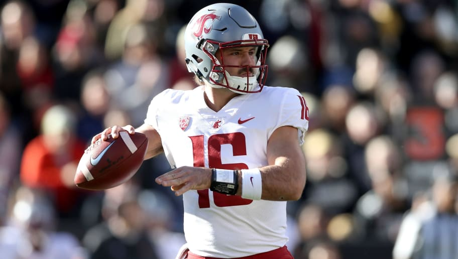 BOULDER, CO - NOVEMBER 10:  Gardner Minshew II #16 of the Washington State Cougars throws against the Colorado Buffaloes in the first quarter at Folsom Field on November 10, 2018 in Boulder, Colorado.  (Photo by Matthew Stockman/Getty Images)