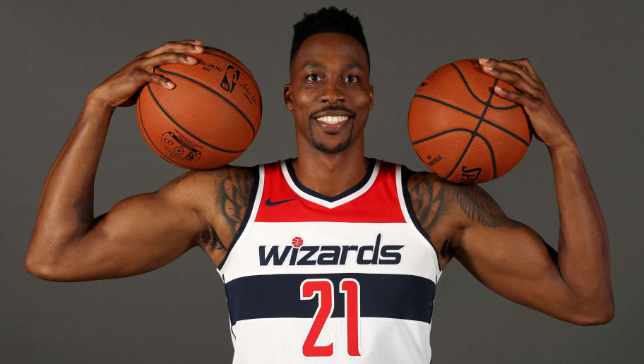WASHINGTON, DC - SEPTEMBER 24: Dwight Howard #21 of the Washington Wizards poses during media day at Entertainment and Sports Arena on September 24, 2018 in Washington, DC. NOTE TO USER: User expressly acknowledges and agrees that, by downloading and/or using this photograph, user is consenting to the terms and conditions of the Getty Images License Agreement.(Photo by Rob Carr/Getty Images)
