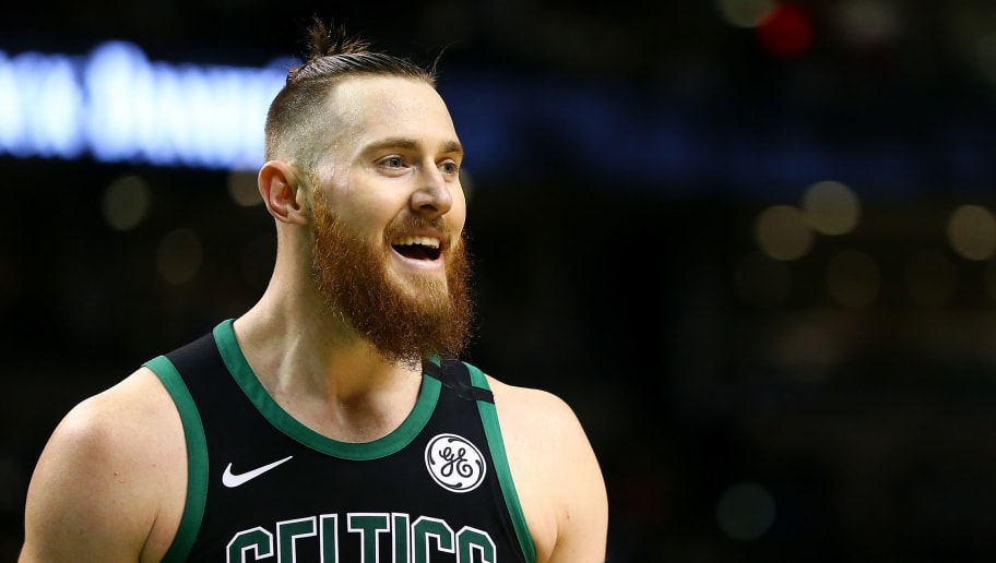 BOSTON, MA - MARCH 14:  Aron Baynes #46 of the Boston Celtics reacts during a game against the Washington Wizards at TD Garden on March 14, 2018 in Boston, Massachusetts. NOTE TO USER: User expressly acknowledges and agrees that, by downloading and or using this photograph, User is consenting to the terms and conditions of the Getty Images License Agreement. (Photo by Adam Glanzman/Getty Images)