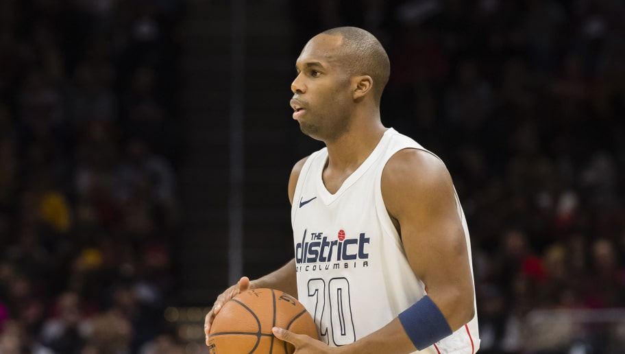 CLEVELAND, OH - FEBRUARY 22: Jodie Meeks #20 of the Washington Wizards looks to pass during the first half against the Cleveland Cavaliers at Quicken Loans Arena on February 22, 2018 in Cleveland, Ohio. NOTE TO USER: User expressly acknowledges and agrees that, by downloading and or using this photograph, User is consenting to the terms and conditions of the Getty Images License Agreement. (Photo by Jason Miller/Getty Images)