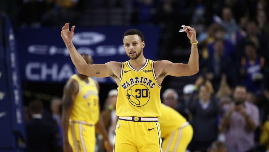 OAKLAND, CA - OCTOBER 24:  Stephen Curry #30 of the Golden State Warriors reacts to the crowd chanting 'MVP' during their game against the Washington Wizards at ORACLE Arena on October 24, 2018 in Oakland, California. Curry finished the game with 51 points.   NOTE TO USER: User expressly acknowledges and agrees that, by downloading and or using this photograph, User is consenting to the terms and conditions of the Getty Images License Agreement.  (Photo by Ezra Shaw/Getty Images)