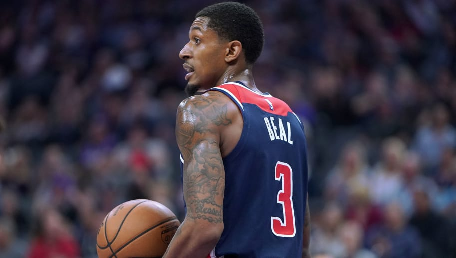 SACRAMENTO, CA - OCTOBER 26:  Bradley Beal #3 of the Washington Wizards looks on against the Sacramento Kings during an NBA basketball game at Golden 1 Center on October 26, 2018 in Sacramento, California. NOTE TO USER: User expressly acknowledges and agrees that, by downloading and or using this photograph, User is consenting to the terms and conditions of the Getty Images License Agreement.  (Photo by Thearon W. Henderson/Getty Images)