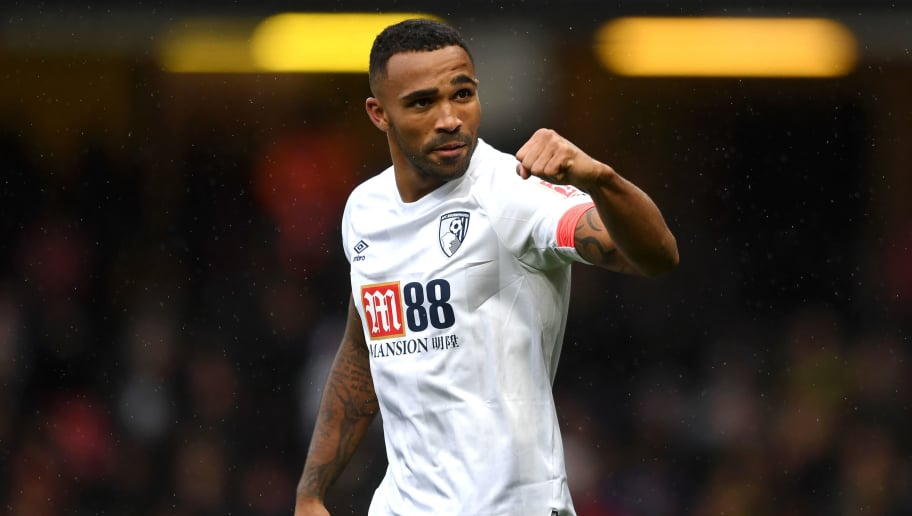 WATFORD, ENGLAND - OCTOBER 06:  Callum Wilson of AFC Bournemouth celebrates after scoring his team's fourth goal during the Premier League match between Watford FC and AFC Bournemouth at Vicarage Road on October 6, 2018 in Watford, United Kingdom.  (Photo by Harry Trump/Getty Images)