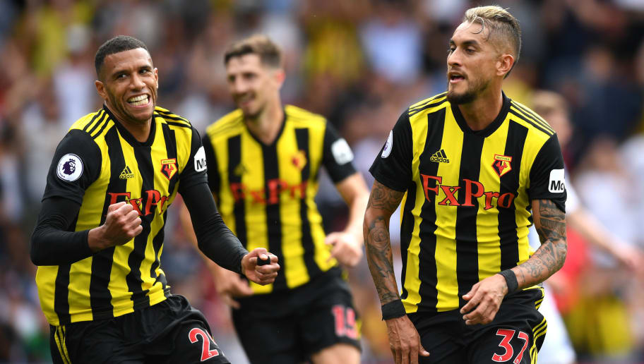 WATFORD, ENGLAND - AUGUST 11:  Roberto Pereyra of Watford celebrates after scoring his team's first goal during the Premier League match between Watford FC and Brighton & Hove Albion at Vicarage Road on August 11, 2018 in Watford, United Kingdom.  (Photo by Michael Regan/Getty Images)
