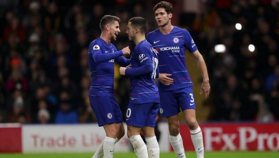 WATFORD, ENGLAND - DECEMBER 26:  Eden Hazard of Chelsea celebrates with team mates after scoring their team's second goal from the penalty spot during the Premier League match between Watford FC and Chelsea FC at Vicarage Road on December 26, 2018 in Watford, United Kingdom.  (Photo by Richard Heathcote/Getty Images)