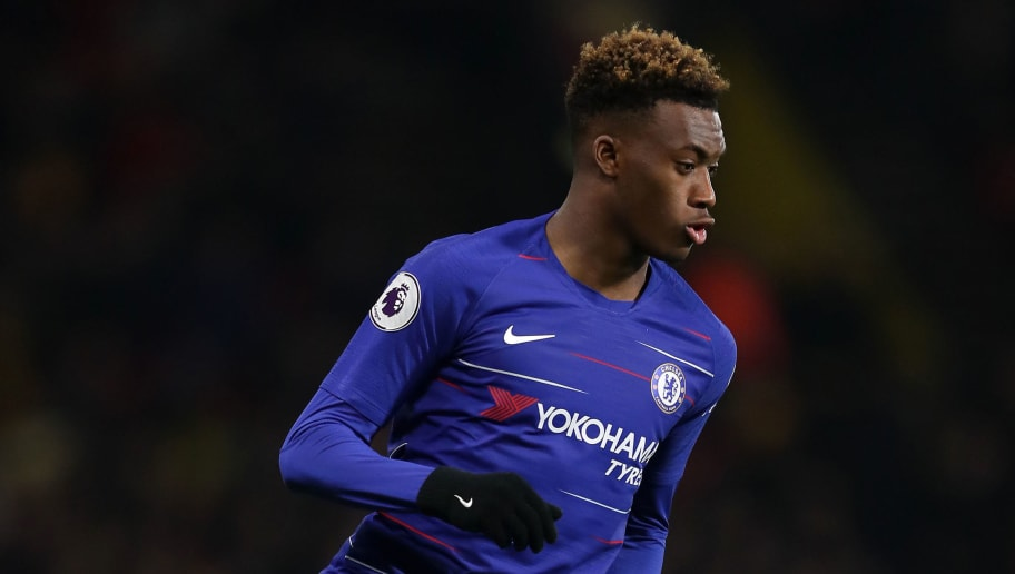 WATFORD, ENGLAND - DECEMBER 26: Callum Hudson-Odoi of Chelsea in action during the Premier League match between Watford FC and Chelsea FC at Vicarage Road on December 26, 2018 in Watford, United Kingdom. (Photo by Richard Heathcote/Getty Images)