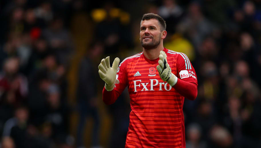 WATFORD, ENGLAND - OCTOBER 27: Ben Foster of Watford during the Premier League match between Watford FC and Huddersfield Town at Vicarage Road on October 27, 2018 in Watford, United Kingdom. (Photo by Catherine Ivill/Getty Images)