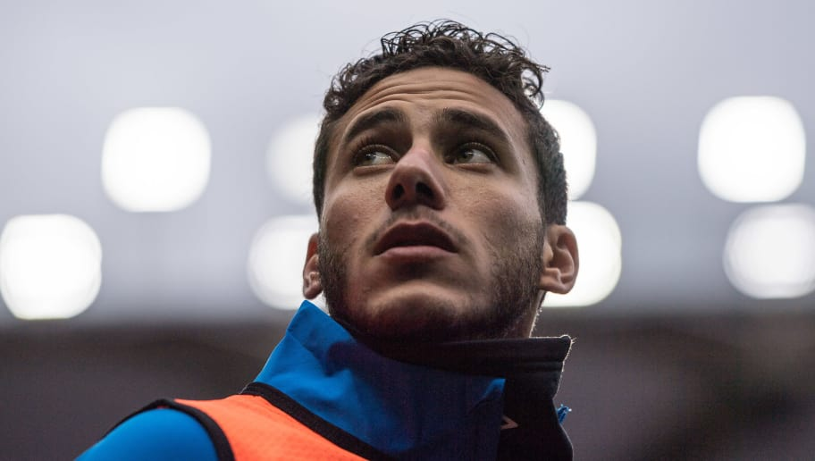 WATFORD, ENGLAND - OCTOBER 27: Ramadan Sobhi of Huddersfield Town  looks on while warms up during the Premier League match between Watford FC and Huddersfield Town at Vicarage Road on October 27, 2018 in Watford, United Kingdom. (Photo by Sebastian Frej/MB Media/Getty Images)