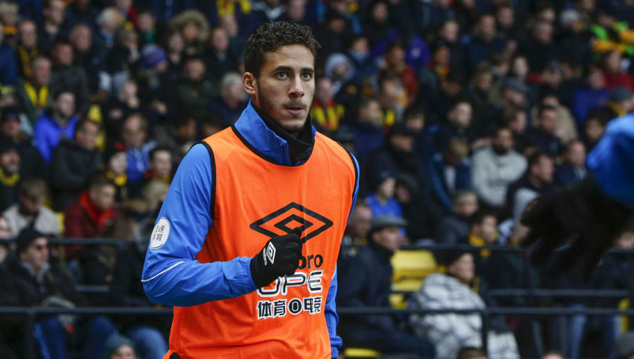 WATFORD, ENGLAND - OCTOBER 27: Ramadan Sobhi of Huddersfield Town during the Premier League match between Watford FC and Huddersfield Town at Vicarage Road on October 27, 2018 in Watford, United Kingdom. (Photo by William Early/Getty Images)