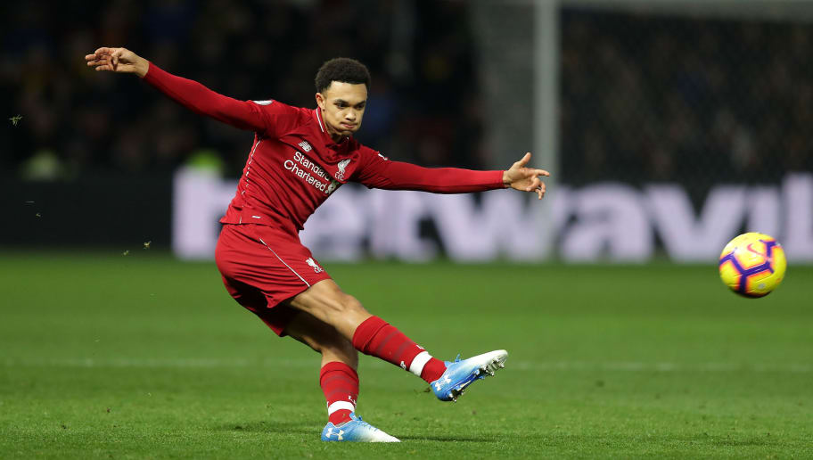 WATFORD, ENGLAND - NOVEMBER 24: Trent Alexander-Arnold of Liverpool in action during the Premier League match between Watford FC and Liverpool FC at Vicarage Road on November 24, 2018 in Watford, United Kingdom. (Photo by Richard Heathcote/Getty Images)