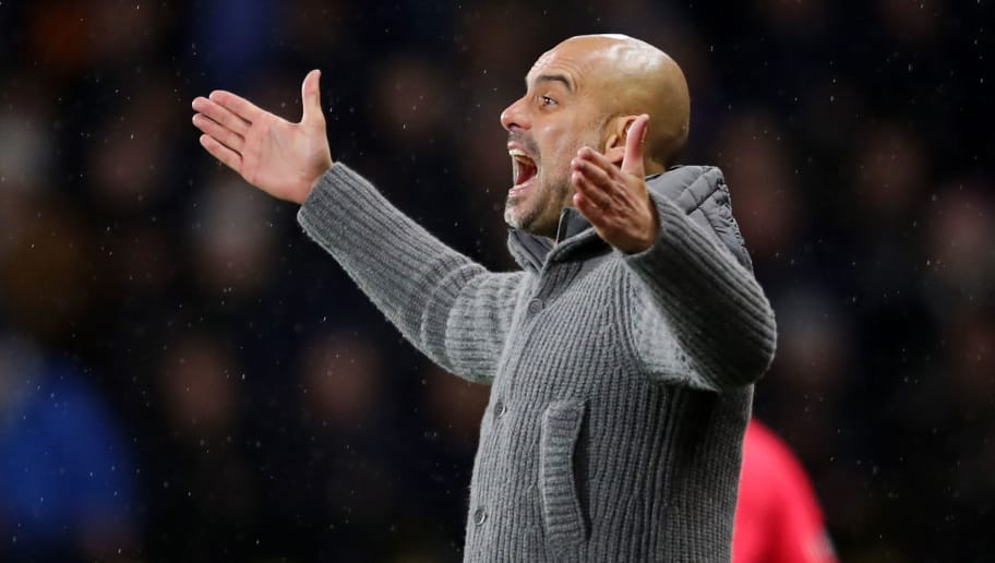WATFORD, ENGLAND - DECEMBER 04:  Josep Guardiola, Manager of Manchester City gives his team instructions during the Premier League match between Watford FC and Manchester City at Vicarage Road on December 4, 2018 in Watford, United Kingdom.  (Photo by Richard Heathcote/Getty Images)