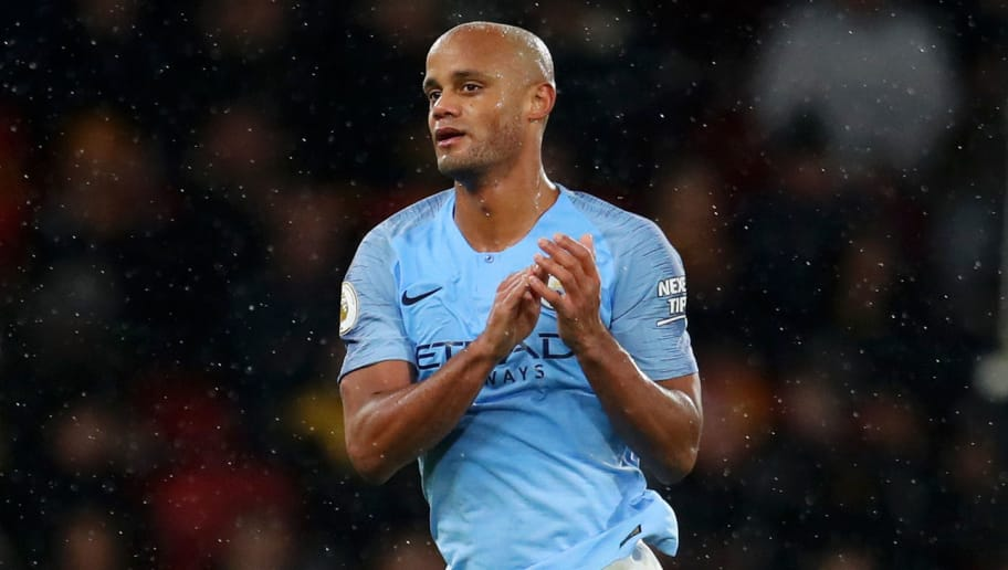 WATFORD, ENGLAND - DECEMBER 04:  Vincent Kompany of Manchester City applauds fans after as he is substituted off during the Premier League match between Watford FC and Manchester City at Vicarage Road on December 4, 2018 in Watford, United Kingdom.  (Photo by Catherine Ivill/Getty Images)