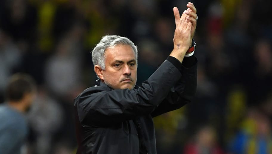 WATFORD, ENGLAND - SEPTEMBER 15:  Jose Mourinho, Manager of Manchester United applauds fans after the Premier League match between Watford FC and Manchester United at Vicarage Road on September 15, 2018 in Watford, United Kingdom.  (Photo by Ross Kinnaird/Getty Images)