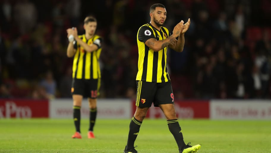 WATFORD, ENGLAND - SEPTEMBER 15:  Troy Deeney of Watford applauds fans after during the Premier League match between Watford FC and Manchester United at Vicarage Road on September 15, 2018 in Watford, United Kingdom.  (Photo by Richard Heathcote/Getty Images)