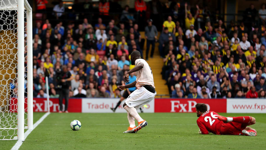 WATFORD, ENGLAND - SEPTEMBER 15:  Romelu Lukaku of Manchester United scores his team's first goal during the Premier League match between Watford FC and Manchester United at Vicarage Road on September 15, 2018 in Watford, United Kingdom.  (Photo by Richard Heathcote/Getty Images)