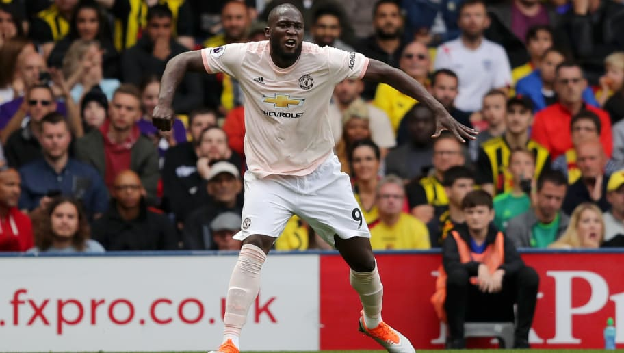 WATFORD, ENGLAND - SEPTEMBER 15:  Romelu Lukaku of Manchester United celebrates after scoring his team's first goal during the Premier League match between Watford FC and Manchester United at Vicarage Road on September 15, 2018 in Watford, United Kingdom.  (Photo by Richard Heathcote/Getty Images)