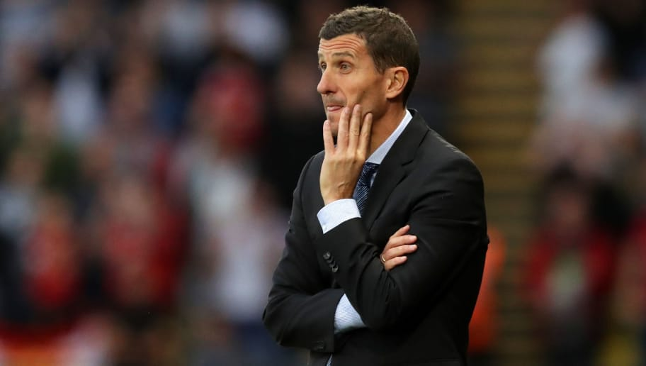 WATFORD, ENGLAND - SEPTEMBER 15:  Javi Gracia, Manager of Watford reacts during the Premier League match between Watford FC and Manchester United at Vicarage Road on September 15, 2018 in Watford, United Kingdom.  (Photo by Richard Heathcote/Getty Images)