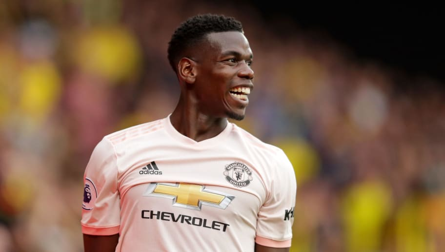 WATFORD, ENGLAND - SEPTEMBER 15:  Paul Pogba of Manchester United reacts during the Premier League match between Watford FC and Manchester United at Vicarage Road on September 15, 2018 in Watford, United Kingdom.  (Photo by Richard Heathcote/Getty Images)