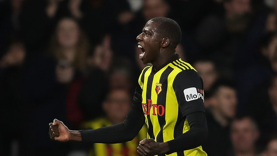 WATFORD, ENGLAND - DECEMBER 29:  Abdoulaye Doucoure of Watford celebrates after scoring his team's first goal during the Premier League match between Watford FC and Newcastle United at Vicarage Road on December 29, 2018 in Watford, United Kingdom.  (Photo by Richard Heathcote/Getty Images)