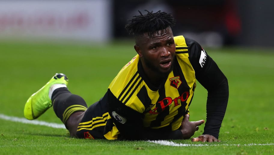 WATFORD, ENGLAND - DECEMBER 29: Isaac Success of Watford during the Premier League match between Watford FC and Newcastle United at Vicarage Road on December 29, 2018 in Watford, United Kingdom. (Photo by Catherine Ivill/Getty Images)