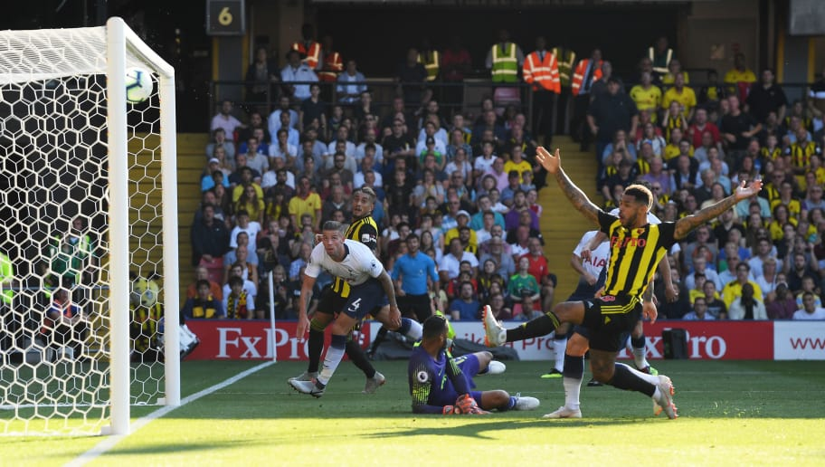 WATFORD, ENGLAND - SEPTEMBER 02:  Toby Alderweireld of Tottenham Hotspur watches as he deflects a cross onto the post during the Premier League match between Watford FC and Tottenham Hotspur at Vicarage Road on September 2, 2018 in Watford, United Kingdom.  (Photo by Mike Hewitt/Getty Images)