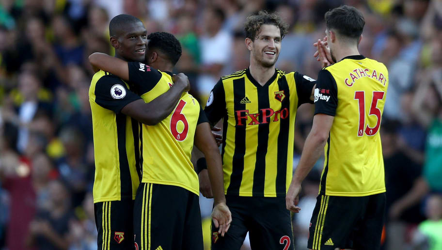 WATFORD, ENGLAND - SEPTEMBER 02:  Watford players celebrate victory after the Premier League match between Watford FC and Tottenham Hotspur at Vicarage Road on September 2, 2018 in Watford, United Kingdom.  (Photo by Bryn Lennon/Getty Images)