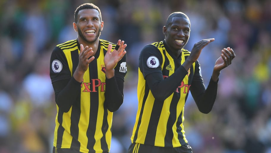 WATFORD, ENGLAND - SEPTEMBER 02:  Etienne Capoue and Abdoulaye Doucoure of Watford celebrate at the full time whistle during the Premier League match between Watford FC and Tottenham Hotspur at Vicarage Road on September 2, 2018 in Watford, United Kingdom.  (Photo by Mike Hewitt/Getty Images)