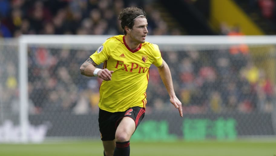 WATFORD, ENGLAND - MARCH 31: Daryl Janmaat of Watford during the Premier League match between Watford and AFC Bournemouth at Vicarage Road on March 31, 2018 in Watford, England. (Photo by Henry Browne/Getty Images)