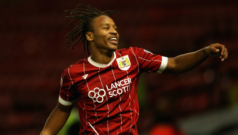 WATFORD, ENGLAND - AUGUST 22:  Bobby Reid of Bristol City celebrates scoring his sides second goal during the Carabao Cup Second Round match between Watford and Bristol City at Vicarage Road on August 22, 2017 in Watford, England.  (Photo by Alex Pantling/Getty Images)