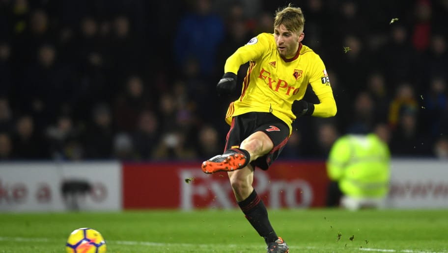 WATFORD, ENGLAND - FEBRUARY 05:  Gerard Deulofeu of Watford scores the 3rd Watford goal during the Premier League match between Watford and Chelsea at Vicarage Road on February 5, 2018 in Watford, England.  (Photo by Michael Regan/Getty Images)