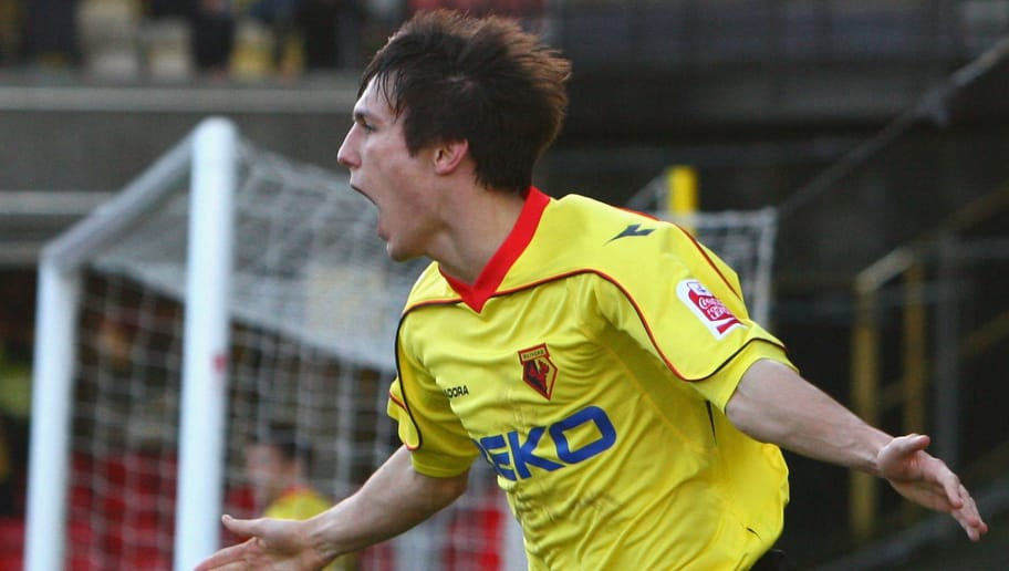 WATFORD, UNITED KINGDOM - JANUARY 24:  Jack Cork of Watford celebrates after he scored his team's second goal during the FA Cup 4th Round match between Watford and Crystal Palace at Vicarage Road on January 24, 2009 in Watford, England.  (Photo by Ryan Pierse/Getty Images)