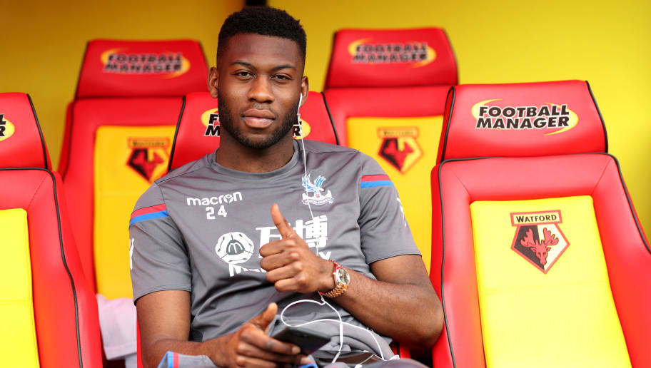 WATFORD, ENGLAND - APRIL 21:  Timothy Fosu-Mensah of Crystal Palace poses prior to the Premier League match between Watford and Crystal Palace at Vicarage Road on April 21, 2018 in Watford, England.  (Photo by Dan Istitene/Getty Images)