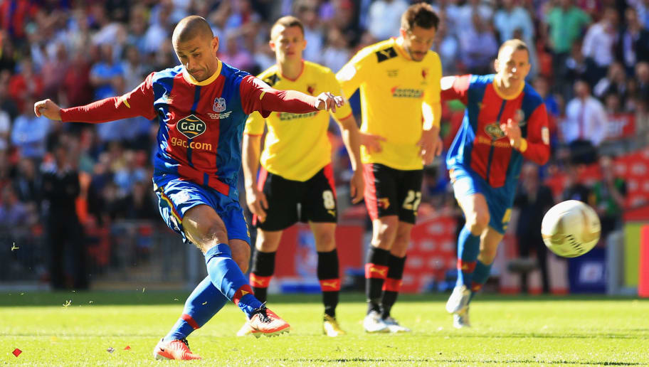 LONDON, ENGLAND - MAY 27:  Kevin Phillips of Crystal Palace scores their first goal from the penalty spot during the npower Championship Play-off Final match between Watford and Crystal Palace at Wembley Stadium on May 27, 2013 in London, England.  (Photo by Richard Heathcote/Getty Images)