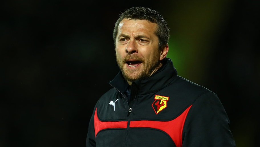 WATFORD, ENGLAND - MARCH 03:  Watford head coach Slavisa Jokanovic shouts instructions during the Sky Bet Championship match between Watford and Fulham at Vicarage Road on March 3, 2015 in Watford, England.  (Photo by Richard Heathcote/Getty Images)