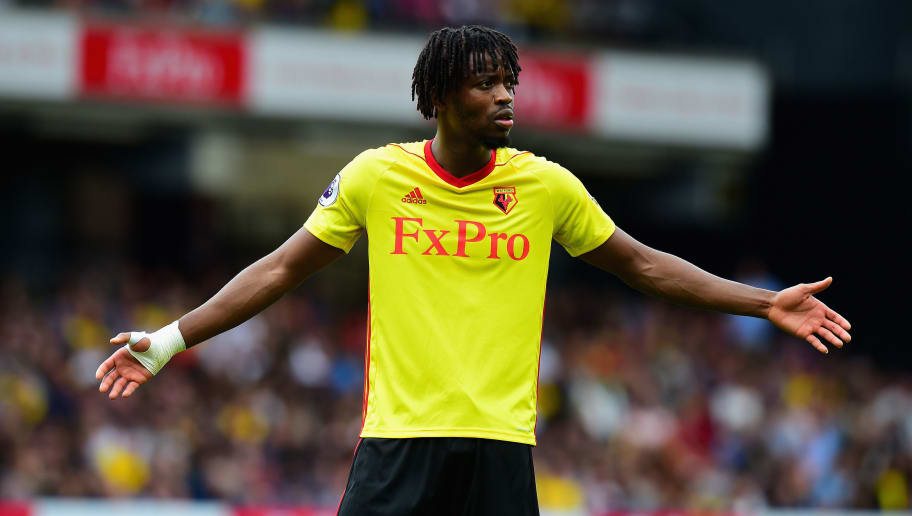 WATFORD, ENGLAND - AUGUST 12:  Nathaniel Chalobah of Watford during the Premier League match between Watford and Liverpool at Vicarage Road on August 12, 2017 in Watford, England.  (Photo by Tony Marshall/Getty Images)