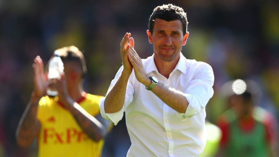 WATFORD, ENGLAND - MAY 05:  Javi Gracia, Manager of Watford shows appreciation to the fans after the Premier League match between Watford and Newcastle United at Vicarage Road on May 5, 2018 in Watford, England.  (Photo by Clive Rose/Getty Images)