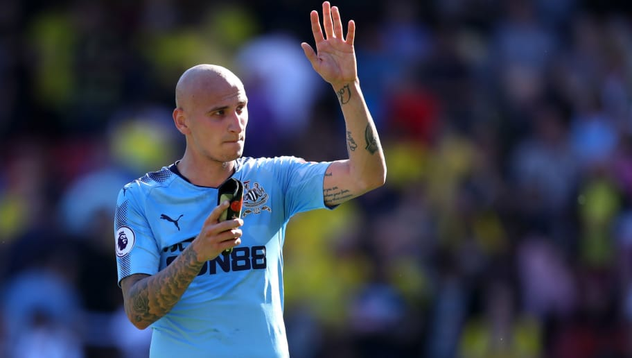 WATFORD, ENGLAND - MAY 05:  Jonjo Shelvey of Newcastle United applauds the fans after the Premier League match between Watford and Newcastle United at Vicarage Road on May 5, 2018 in Watford, England.  (Photo by Catherine Ivill/Getty Images)